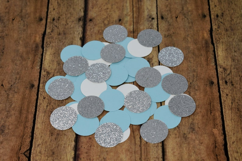 Light Blue Silver Confetti Birthday Decorations