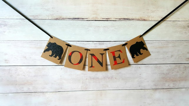 Black Bear Highchair Banner Bear Birthday Decor Bear Lumberjack Banner Bear First Birthday Plaid First Birthday Lumberjack Highchair Decor