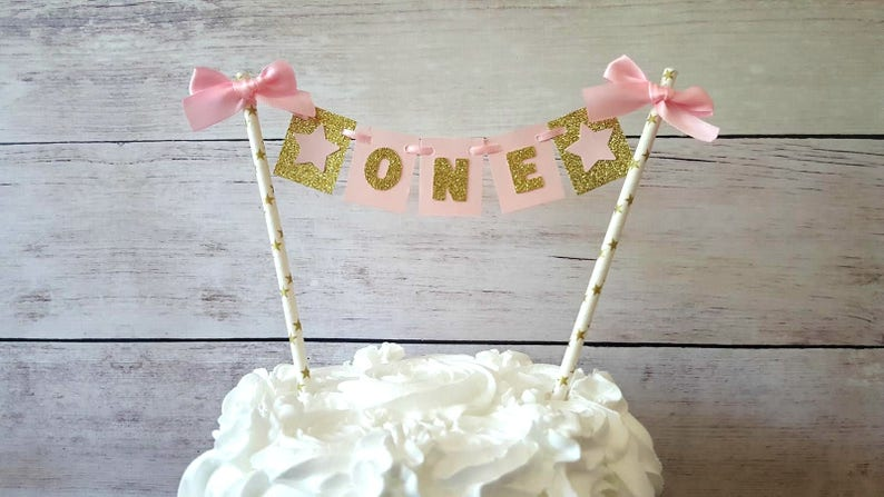 Pink Gold First Birthday Cake Topper Twinkle Star Cake Topper