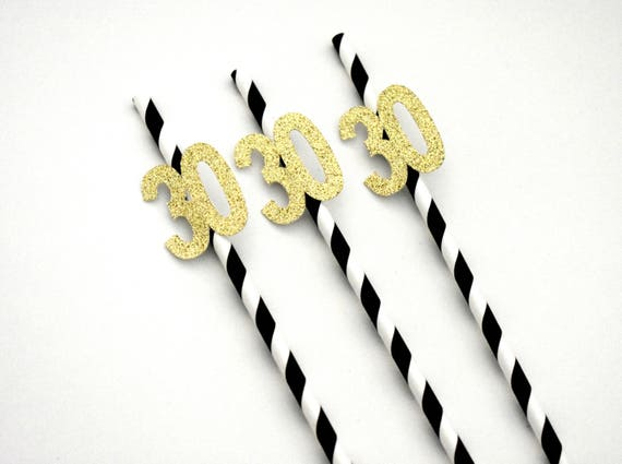 30th Birthday Decorations Anniversary Thirty And Flirty Age 30 Straws Black Gold