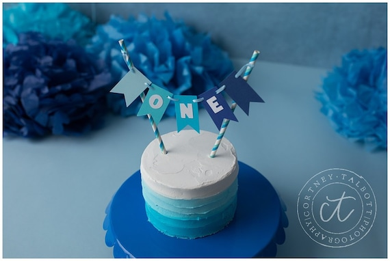 Tremendous Boy First Birthday Decorations One Cake Topper Blue Smash Cake Funny Birthday Cards Online Alyptdamsfinfo