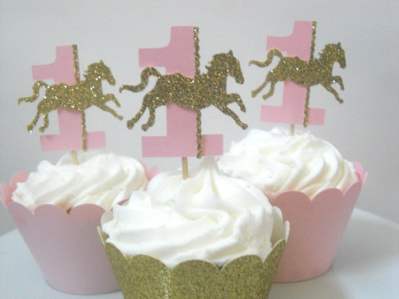 12 Carousel First Birthday Decorations Horse Cupcake Toppers Pink Gold Party Decor And