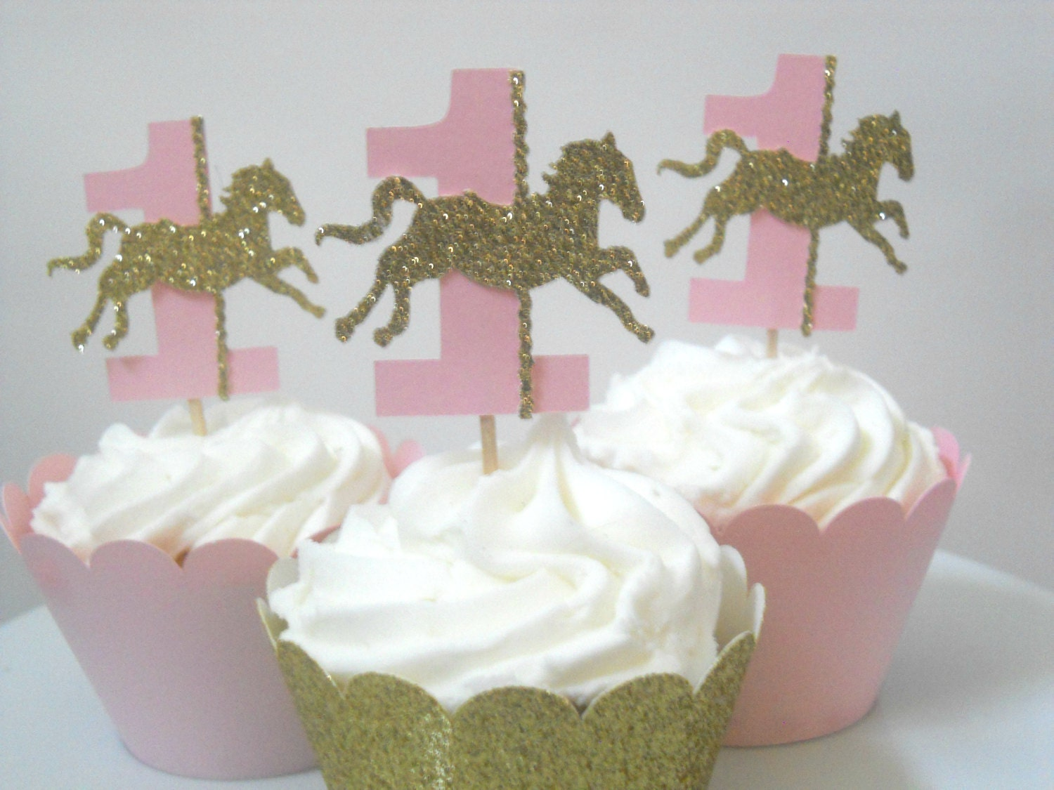 12 Carousel First Birthday Decorations Carousel Horse Cupcake Etsy