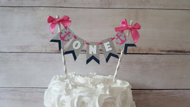 Girl Nautical Birthday Decorations Cake Bunting First Pink Navy Party