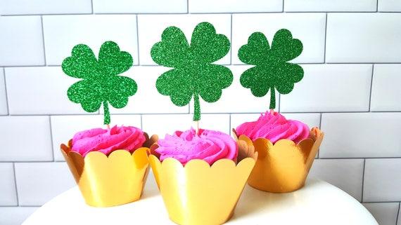 Shamrock Cupcake Toppers Clover Cupcake Toppers Irish Bridal