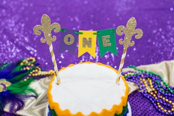 Awe Inspiring Mardi Gras Birthday Cake Topper Mardi Gras Smash Cake Topper Etsy Funny Birthday Cards Online Alyptdamsfinfo