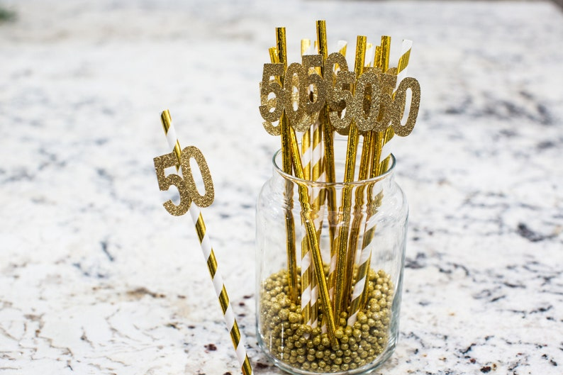 50th Anniversary Decorations 50th Birthday Straws Cheers to 50 Years 50th Birthday Decorations Age Straw Golden Anniversary Decorations