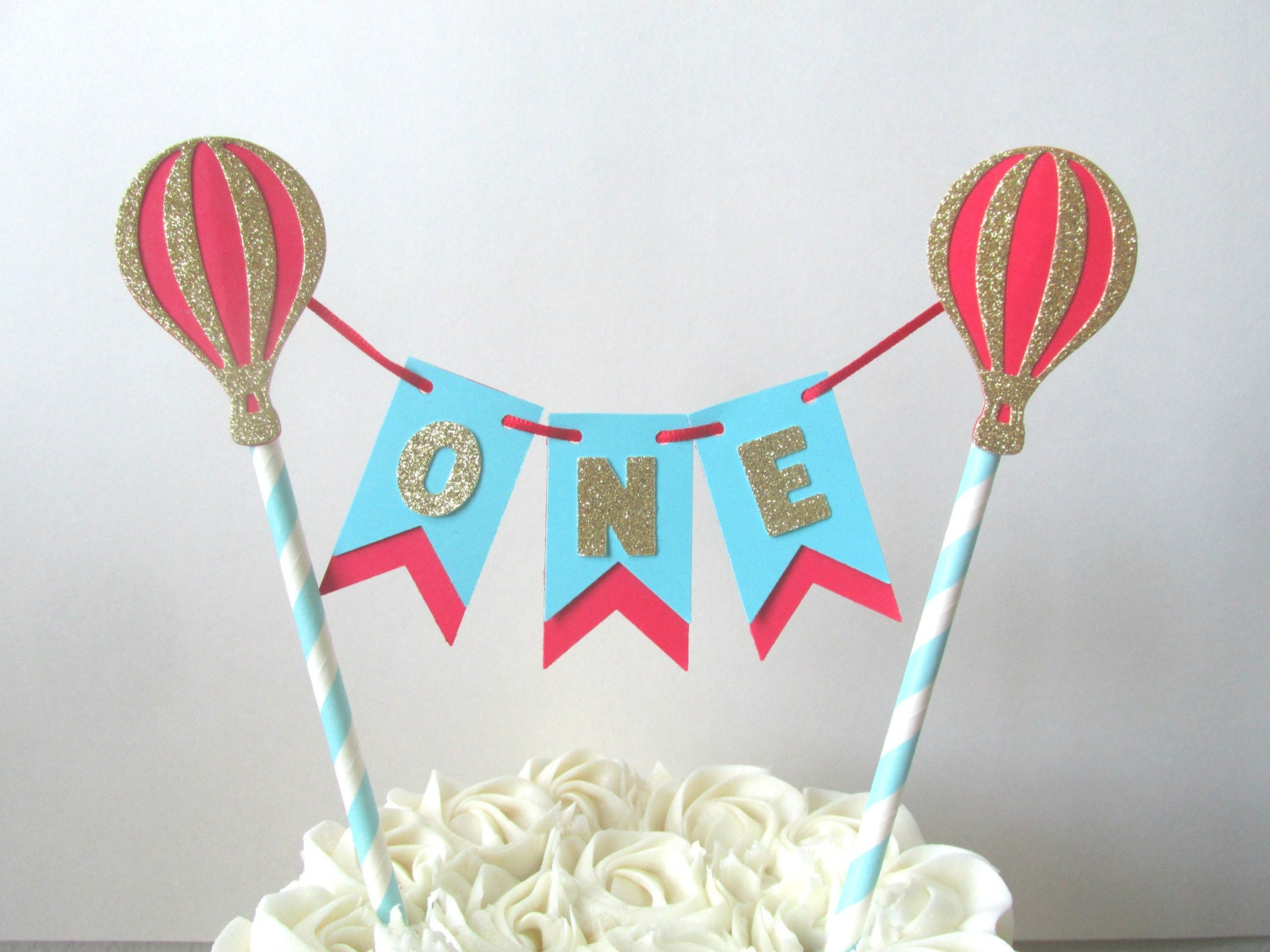 Up Up And Away Cake Topper Hot Air Balloon Cake Topper Red And Etsy