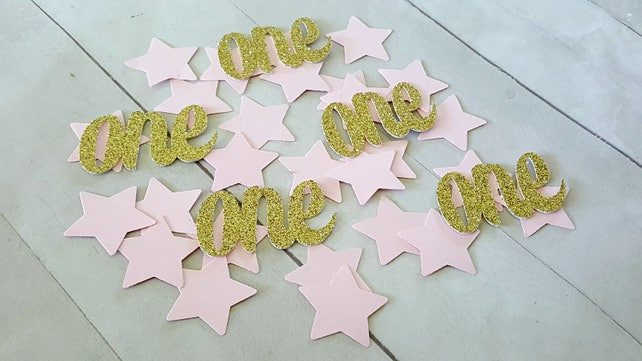 Twinkle Twinkle Little Star First Birthday. Pink and Gold First Birthday. One Confetti. Star Confetti. Girl Star Birthday. Star Party Decor