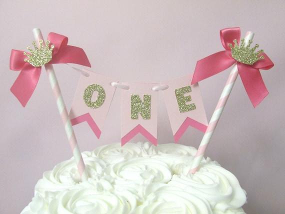 Princess Birthday Cake Topper First Pink