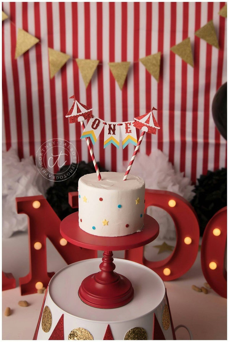 ORIGINAL Circus First Birthday Topper Cake Bunting