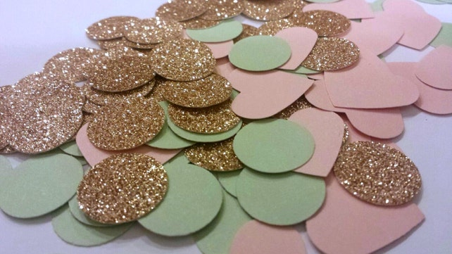 230 Rose Gold Glitter, Mint Green & Blush Pink Confetti metallic confetti Bridal Shower Confetti Wedding Reception Table Confetti