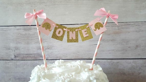 Pink And Gold Elephant Birthday Cake Topper
