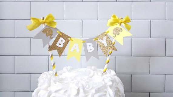 Yellow Gray Elephant Baby Shower Cake Topper Yellow Gray Baby Shower