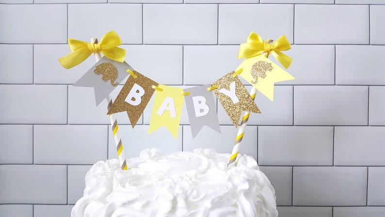 Yellow Gray Elephant Baby Shower Cake Topper Yellow Gray Baby Etsy