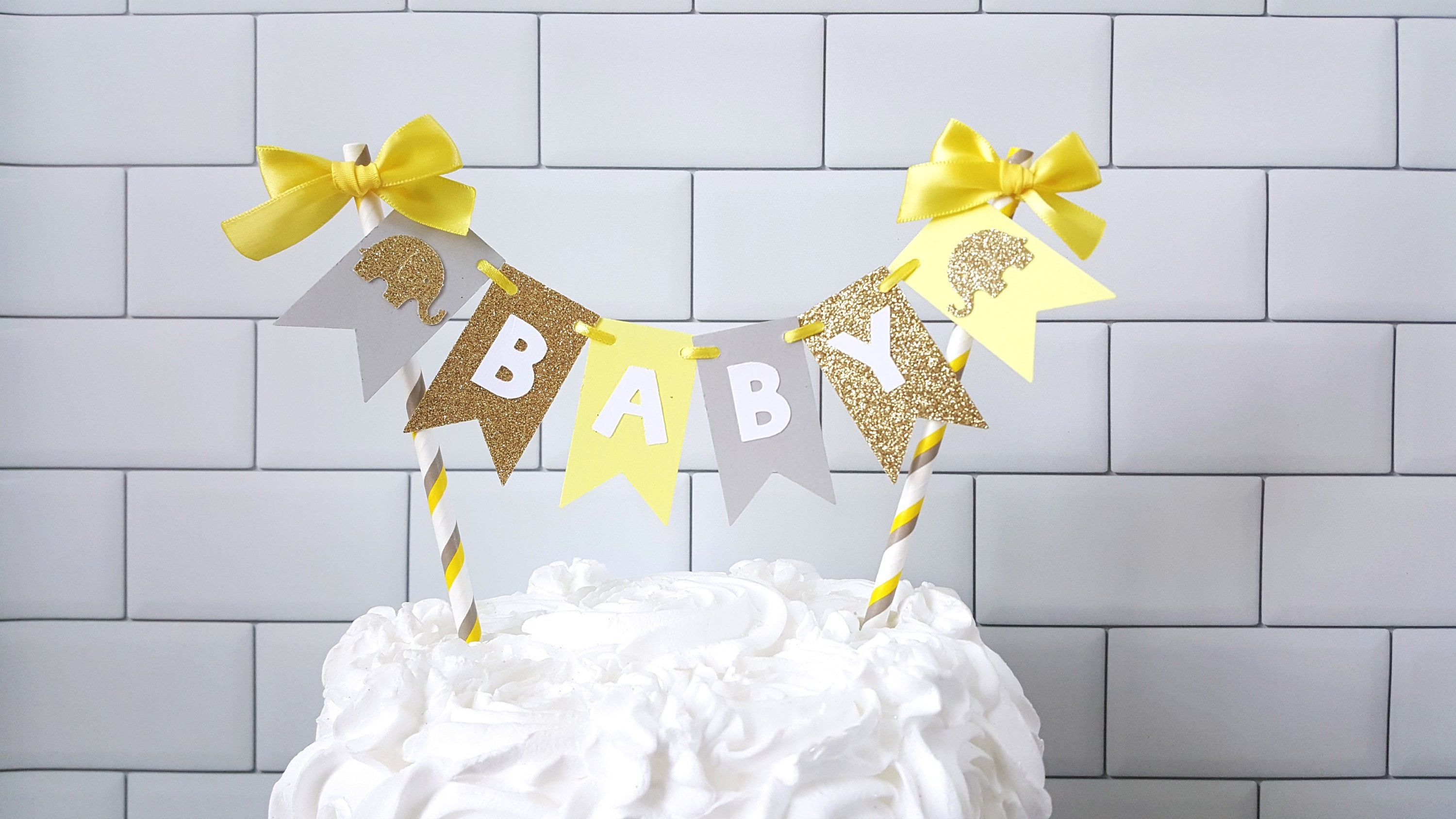 Yellow Gray Elephant Baby Shower Cake Topper Yellow Gray Baby Etsy