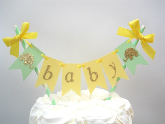 Elephant Baby Shower Cake Topper Mint Yellow Baby Shower Etsy