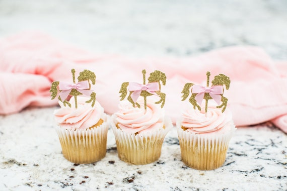 Peachy Carousel Horse Cupcake Toppers Carousel Horse Decorations Personalised Birthday Cards Xaembasilily Jamesorg