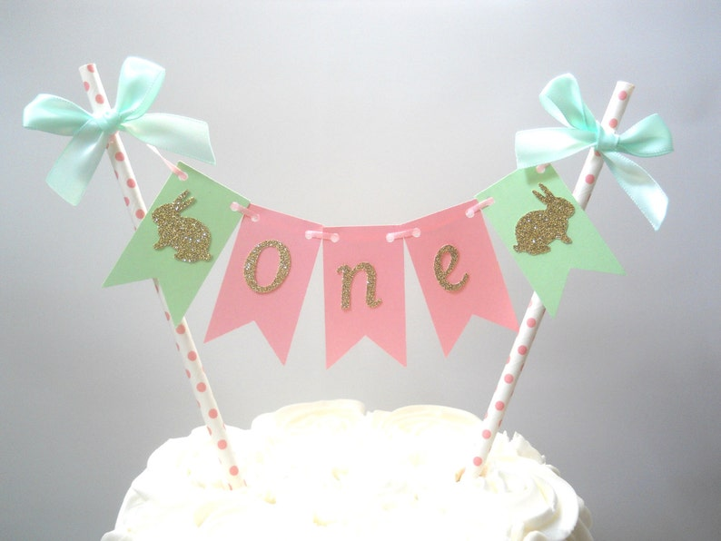 Some Bunny Is One Cake Topper Easter First Birthday Bunny