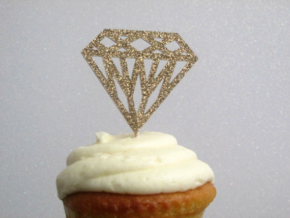 bea5bc3933d7 12 Rose Gold Diamond Cupcake Toppers Diamond Food Picks Diamond Donut Picks  Rose Gold Wedding Decor Rose Gold Bridal Shower Rose Gold Party