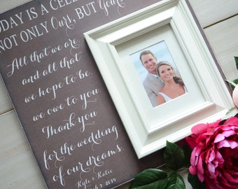 TODAY A BRIDE, Tomorrow A Wife, Forever Your Little Girl, Personalized Picture Frame, Wedding Gift for Parents
