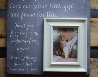 Parent Wedding Gift, Brides Parents, Mother of Bride, Today a Bride, Mom Thank You Gift, Personalized Wedding Frame 16x16