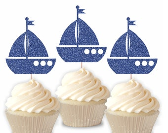 Keepsake Candle Sparkly Number Cake Topper Ahoy Anchor Party Decor Party Supplies Blue Party Decor Nautical Birthday Candle One