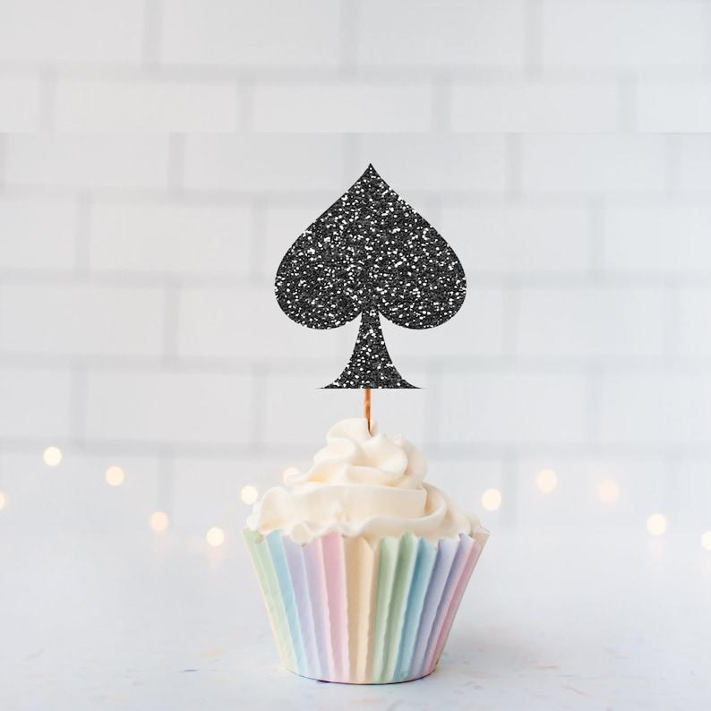 Glitter Spade Cupcake Toppers  Spade Cupcake Toppers  Custom Cupcake Topper  Vegas Theme Decor  Bachelorette Decor  Casino Decor