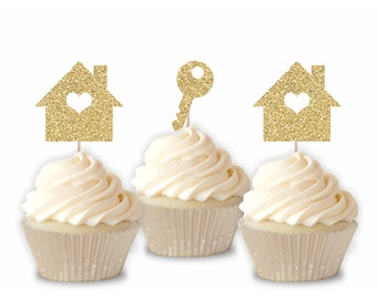 Housewarming Cupcake Toppers/ New Home Cupcake Toppers / New House / Apartment Sandwich Picks / Condo Party / First Home - Set of 12