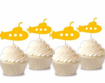 Yellow Submarine Cupcake Toppers - 12ct/ Yellow Submarine Party / Yellow Submarine Baby Shower / Yellow Submarine Themed  / Submarine