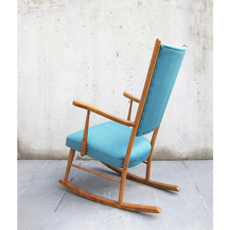 Fabulous Restored Vintage Rocking Chair 1960S New Upholstery Solid Beech Wood And New Water Blue Velvet Fabrics Lounge Chair Reading Corner Download Free Architecture Designs Rallybritishbridgeorg