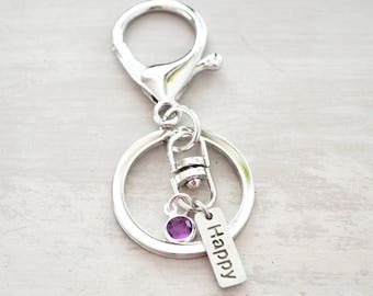 Words to live by Keychain - Personalized with Birthstone - Grads Gift - Sister Gift - Best friend gift - Simple accessories