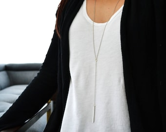 Y lariat Necklace- Lariat Metal Drop Necklace - Layering Necklace - Silver Metal Drop Jewelry - Boho Necklace - Bohemian Jewelry