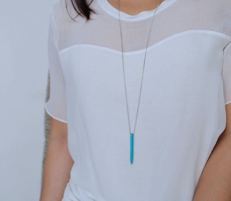 Minimal Jewelry Long Necklace Spike Turquoise Necklace