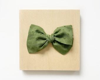 Ivy Bow // Dusty Green Swiss Dot