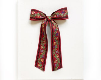 """Vintage Christmas Floral Bow 6"""" Tails ~ Embroidered Red"""