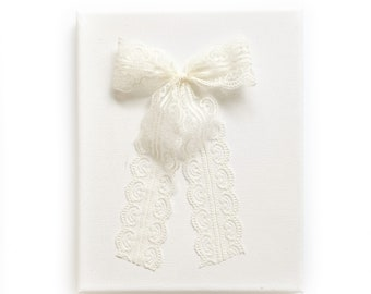 Wide Ivory Lace Bow // Long Tails