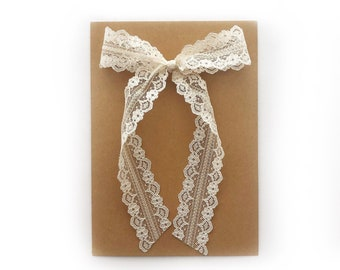 Vintage Ivory Lace Bow // Extra Long Tails