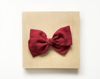 Ivy Bow // Dark Red Swiss Dot