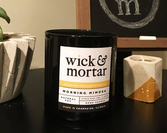 Morning Mimosa // Scented 12oz Candle in Black Glass Jar