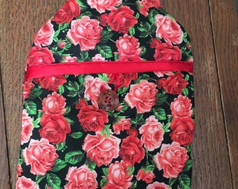 Hand made rose hot water bottle cover (bottle included )