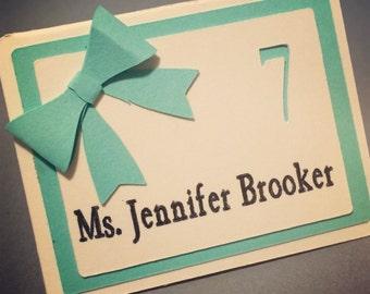 CUSTOM BOW PLACECARD *formal wedding place card* *custom placecard*