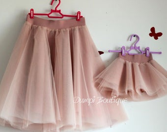 541711ba69 Mommy and Me Tulle Skirts-Mommy and Me Outfits-Matching Dusty Rose  Skirts-Family Mothers Day Outfit -Mother Daughter Tutu -Midi Tulle Skirts
