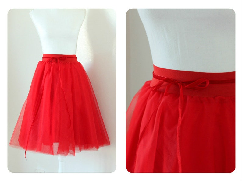 Valentines Day Gifts--Red Women Tutu Skirt Bridesmaides Outfit Midi Length Ladies Skirt Lady Tulle Skirt