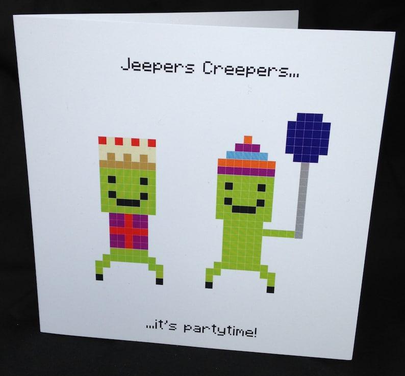 Children's Birthday Card Minecraft Inspired Birthday Etsy