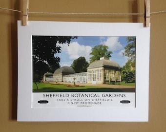 Sheffield Poster - Sheffield Botanical Gardens Poster - Travel Poster - A4 Poster- Retro Poster = Sheffield Art - Sheffield Print