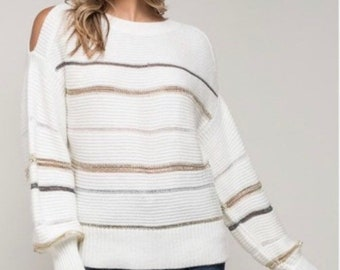 05c1a28148 Womens cream sweater with silver and gold stripes