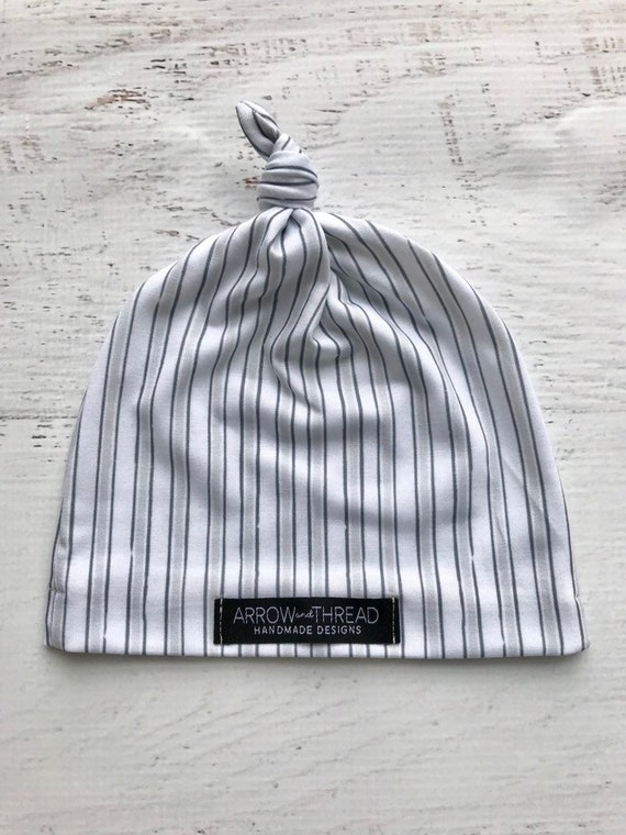 Baby Boy Gray Knotted Beanie Hat Cap Gender Neutral Grey  b9654f9ea