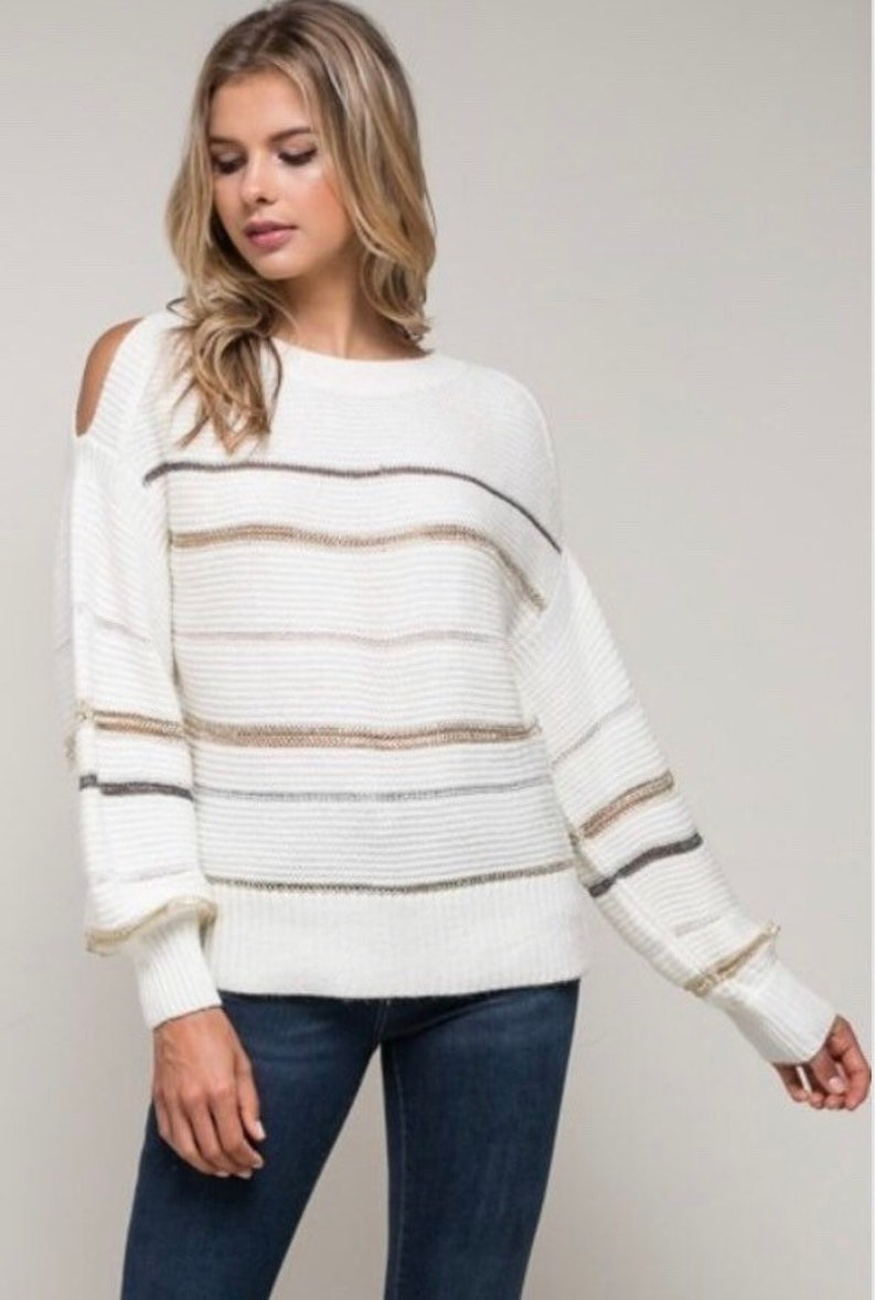 03295658aa Womens cream sweater with silver and gold stripes holiday