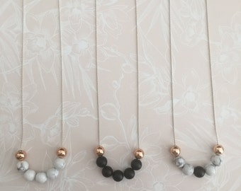 Marble, Rose Gold and Matte Black Agate Necklaces